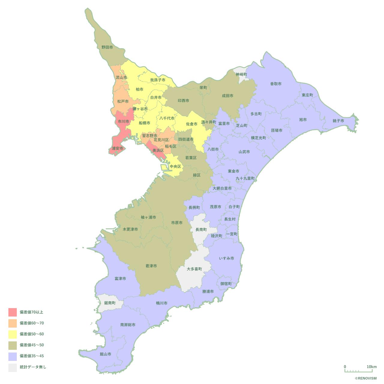 千葉県の土地相場マップ2020年