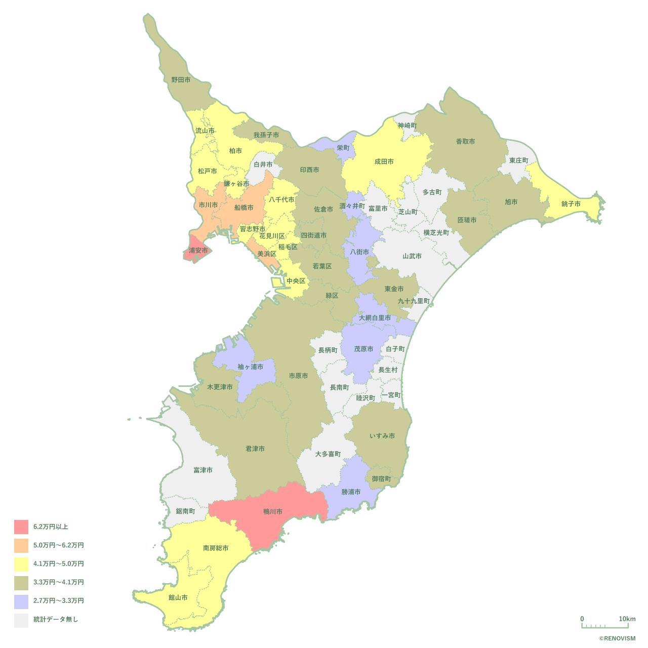 千葉県の1K家賃相場マップ2020年