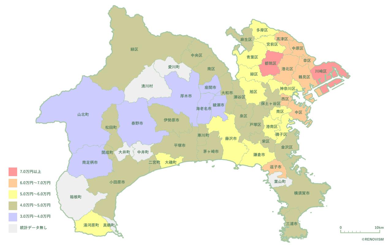 神奈川県の1K家賃相場マップ2020年