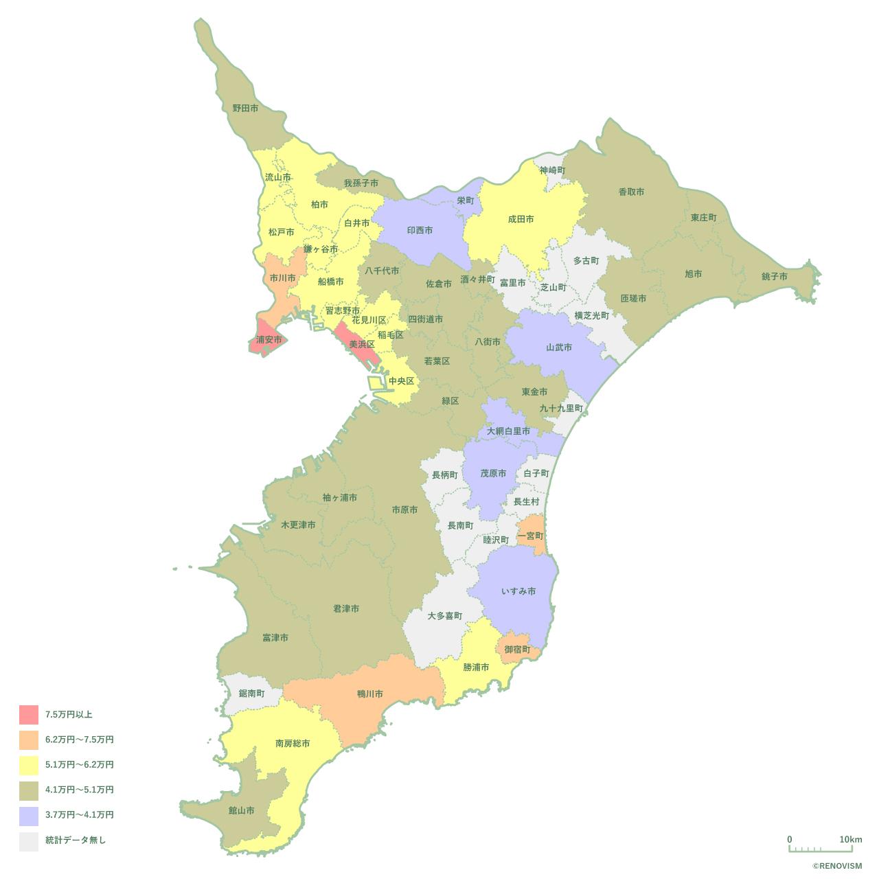 千葉県の1LDK家賃相場マップ2020年