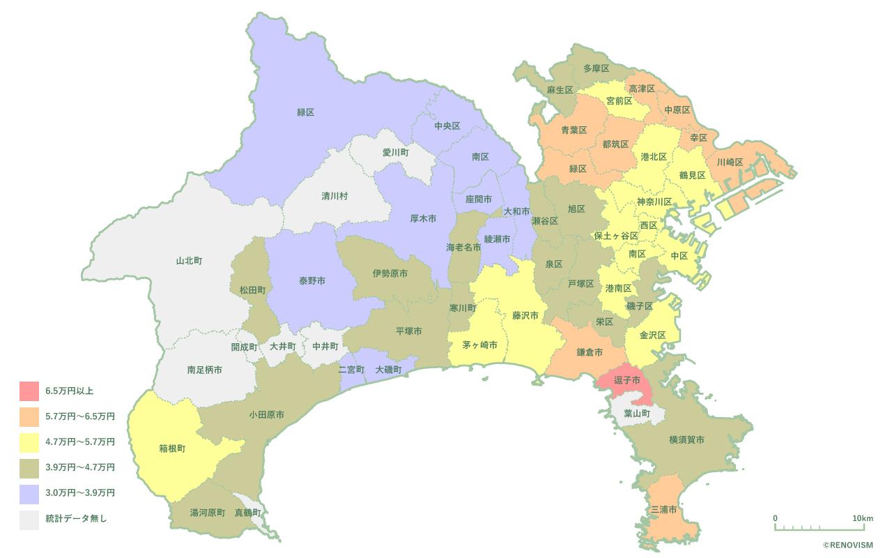 神奈川県の1R家賃相場マップ2020年
