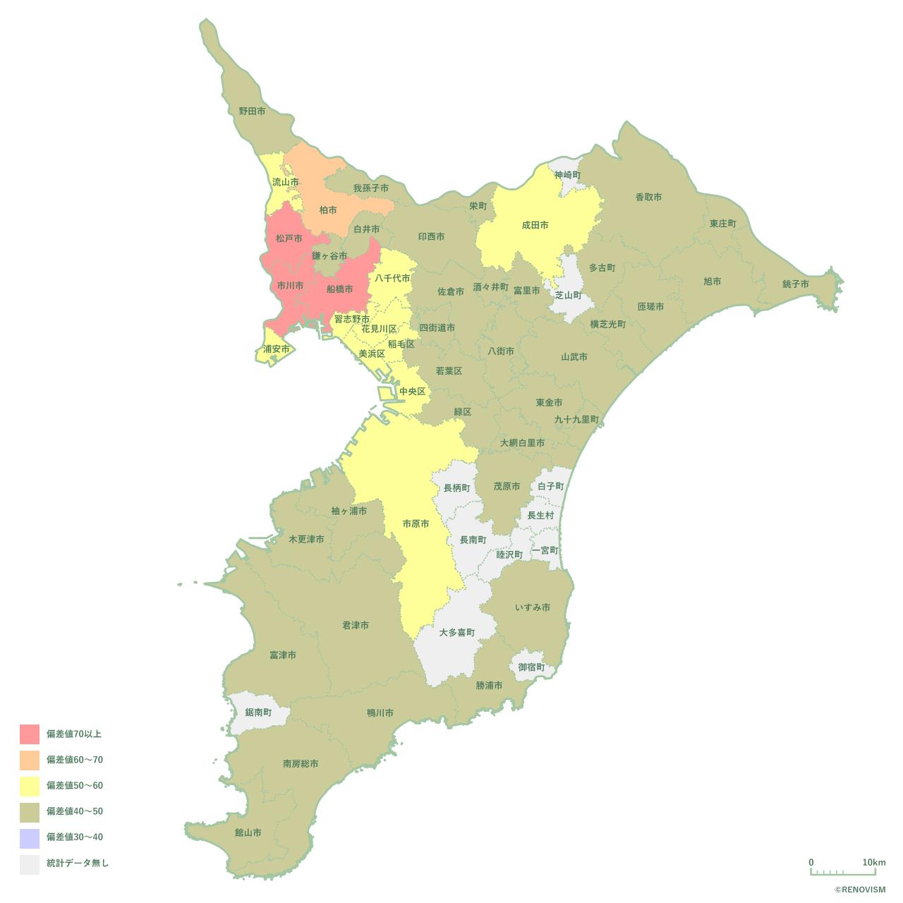 千葉県の賃貸需要マップ2020年