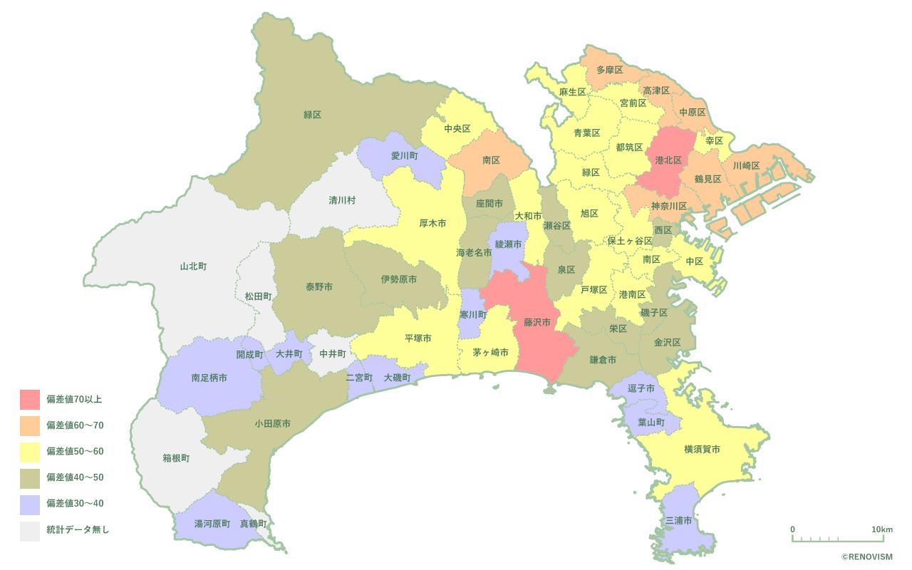 神奈川県の賃貸需要マップ2020年