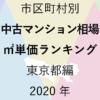49地域別【中古マンション相場 ㎡単価ランキング&マップ】東京都編 2020年