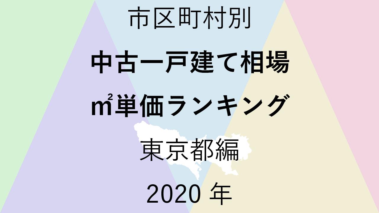50地域別【中古一戸建て相場 ㎡単価ランキング&マップ】東京都編 2020年のアイキャッチ画像