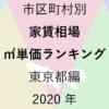 50地域別【家賃相場 ㎡単価ランキング&マップ】東京都編 2020年