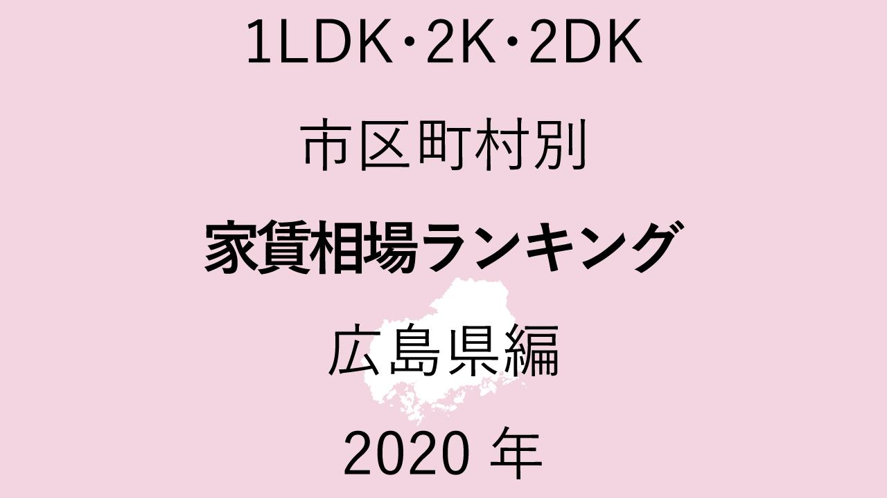 20地域別【1LDK 家賃相場ランキング&マップ】広島県編 2020年のアイキャッチ画像
