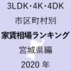 12地域別【3LDK 家賃相場ランキング&マップ】宮城県編 2020年のアイキャッチ画像