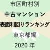 49地域別【中古マンション 表面利回りランキング&マップ】東京都編 2020年
