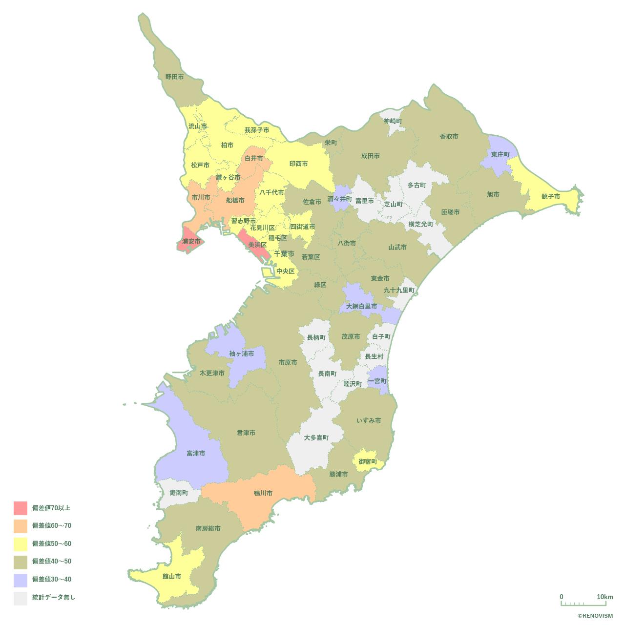 千葉県の家賃相場㎡単価マップ2020年
