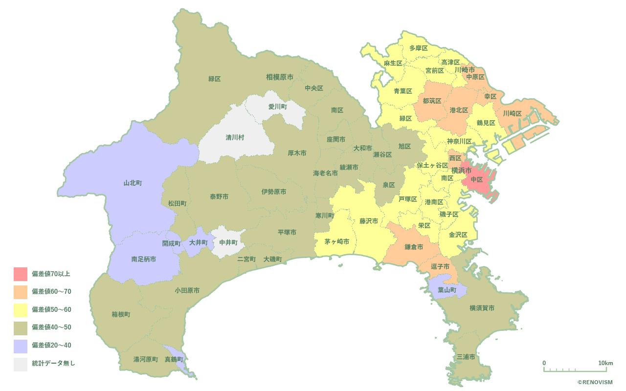 神奈川県の家賃相場㎡単価マップ2020年