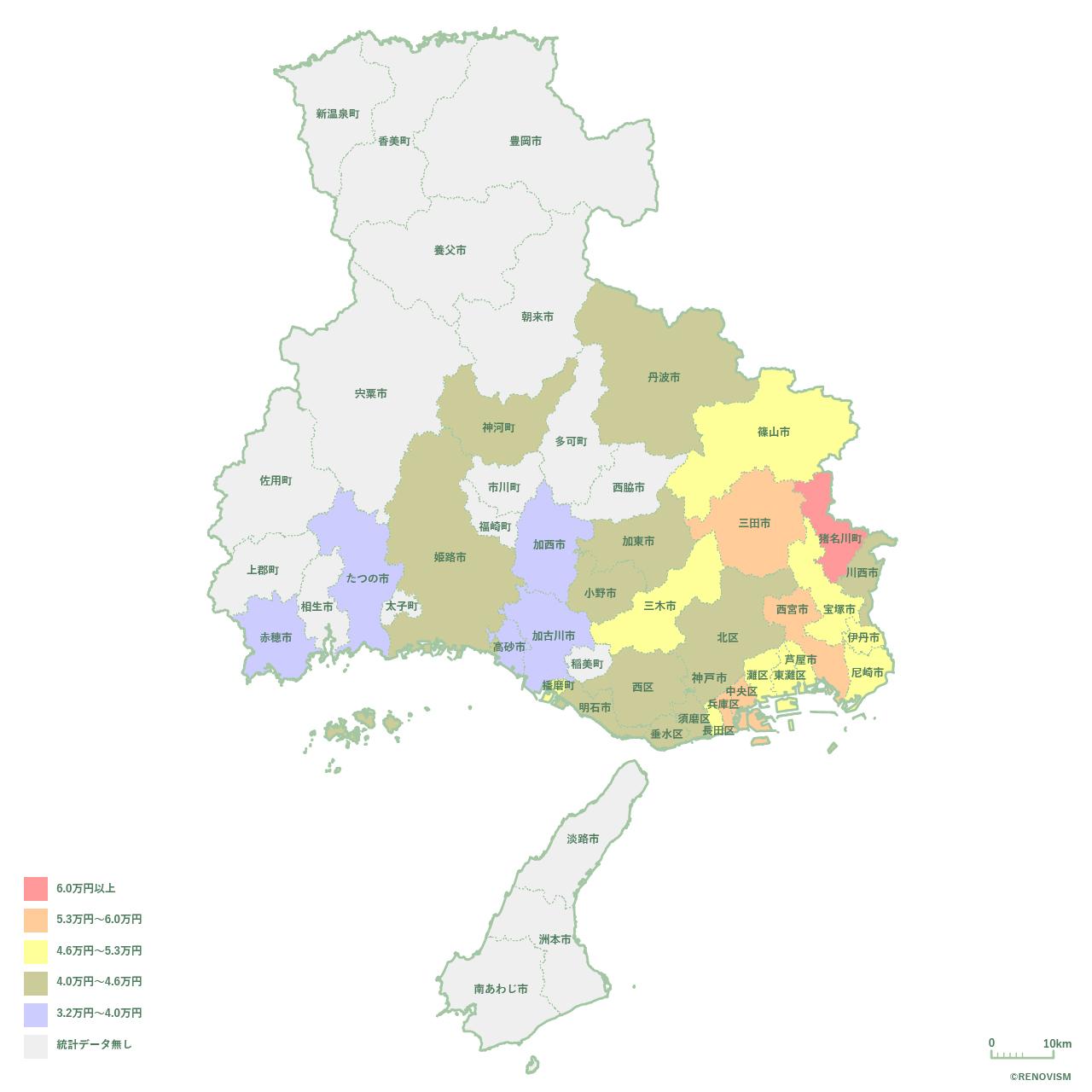 兵庫県の1K家賃相場マップ2020年