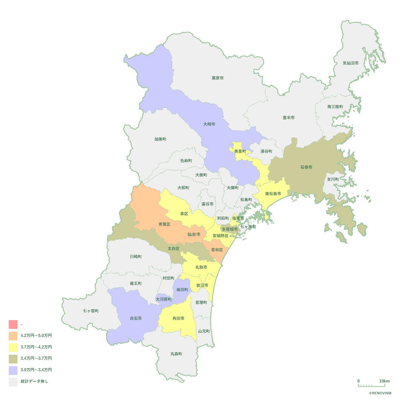 宮城県の1K家賃相場マップ2020年