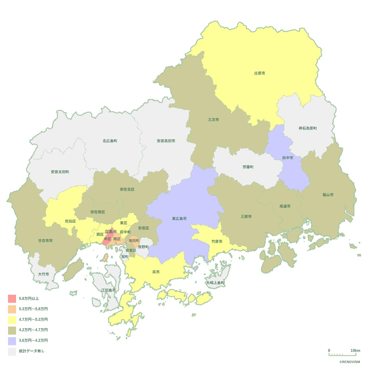 広島県の1LDK家賃相場マップ2020年
