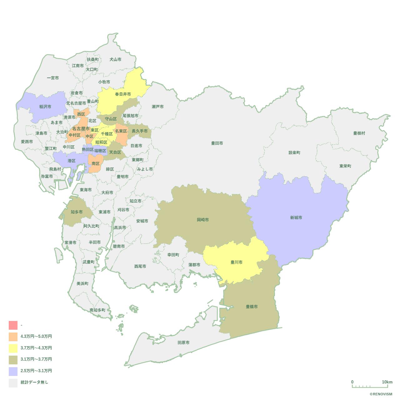 愛知県の1R家賃相場マップ2020年