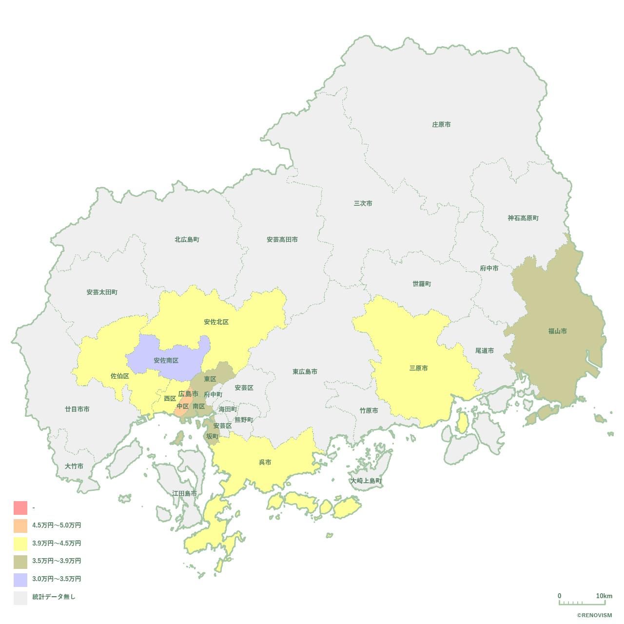 広島県の1R家賃相場マップ2020年