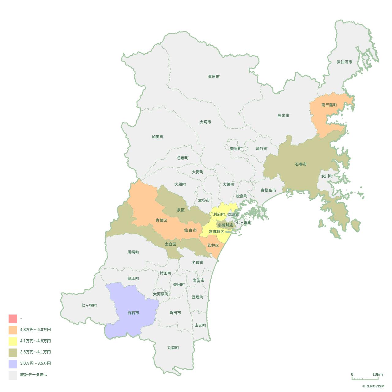 宮城県の1R家賃相場マップ2020年