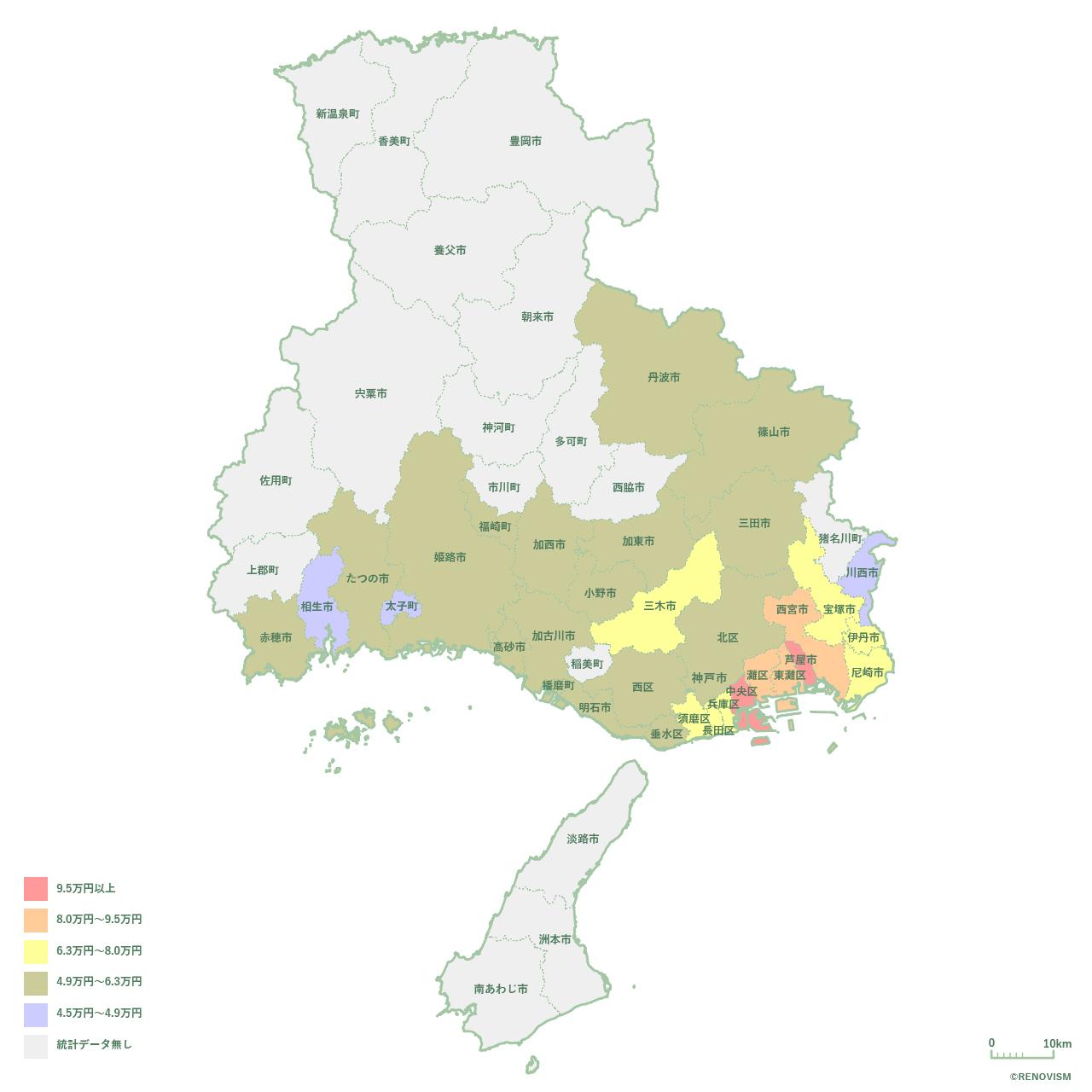 兵庫県の2LDK家賃相場マップ2020年