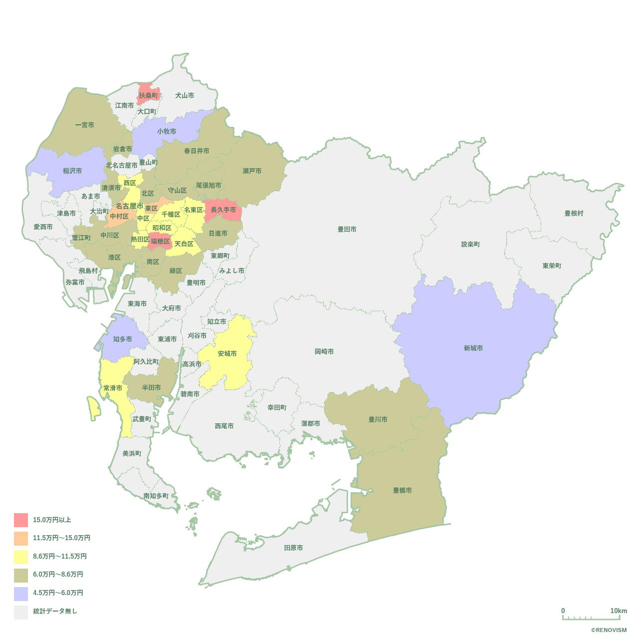 愛知県の3LDK家賃相場マップ2020年
