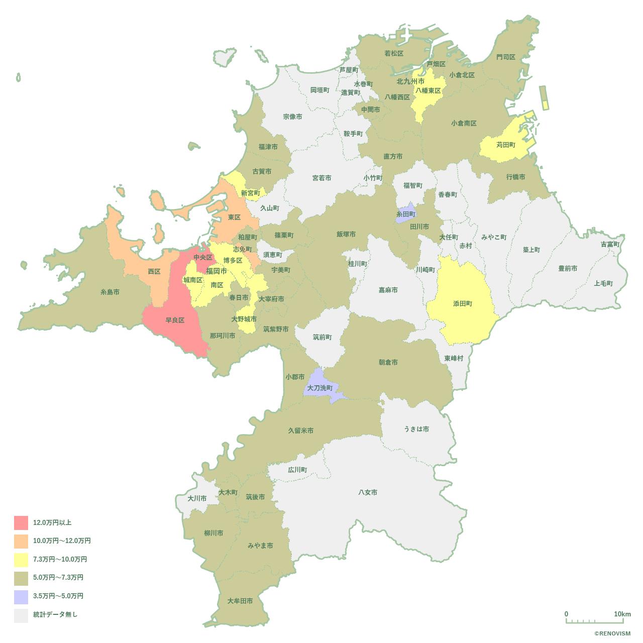 福岡県の3LDK家賃相場マップ2020年