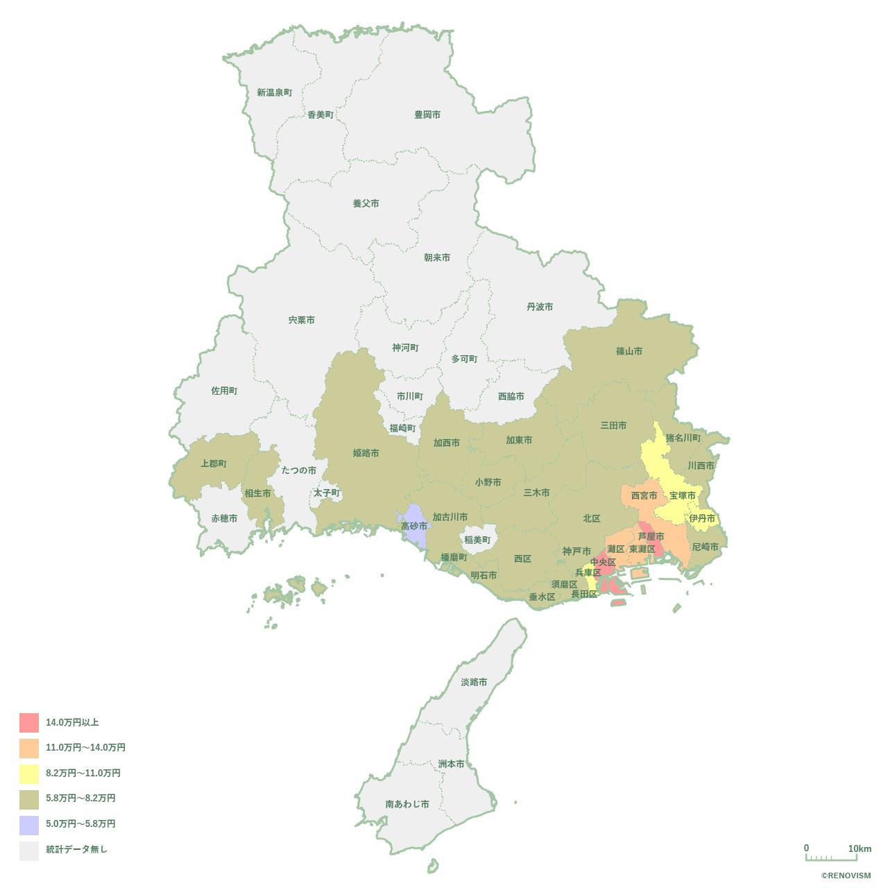兵庫県の3LDK家賃相場マップ2020年