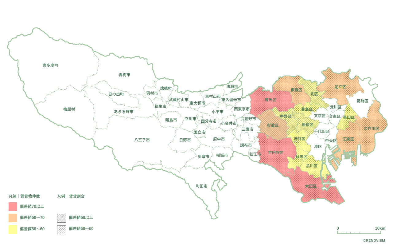 東京都の賃貸物件数と賃貸割合を重ね合わせたマップ2020年