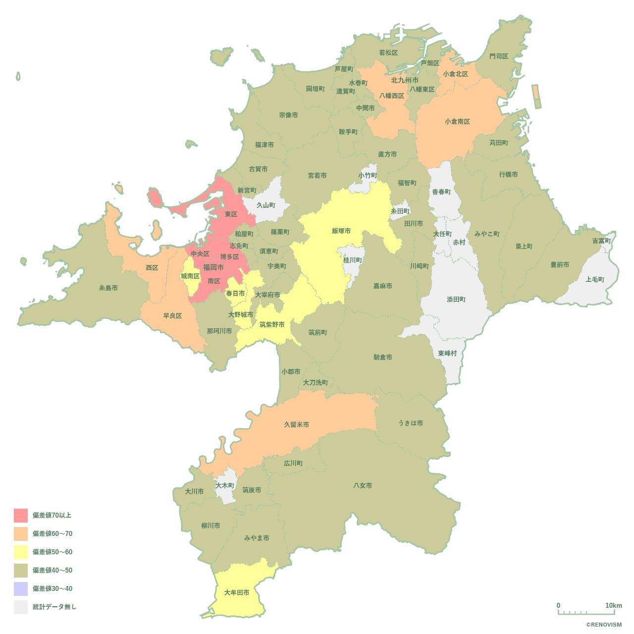 福岡県の賃貸需要マップ2020年