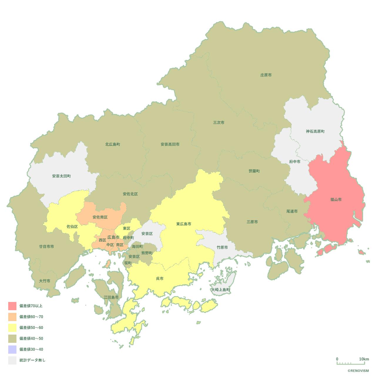 広島県の賃貸需要マップ2020年