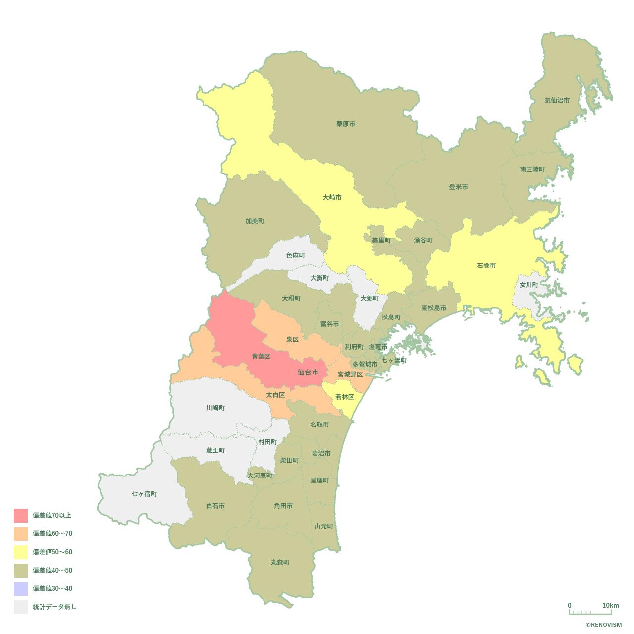 宮城県の賃貸需要マップ2020年