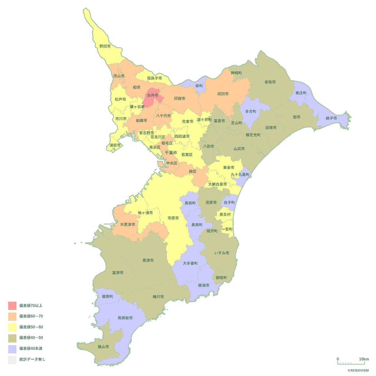 59地域別【人口増減率マップ】千葉県編 2020年