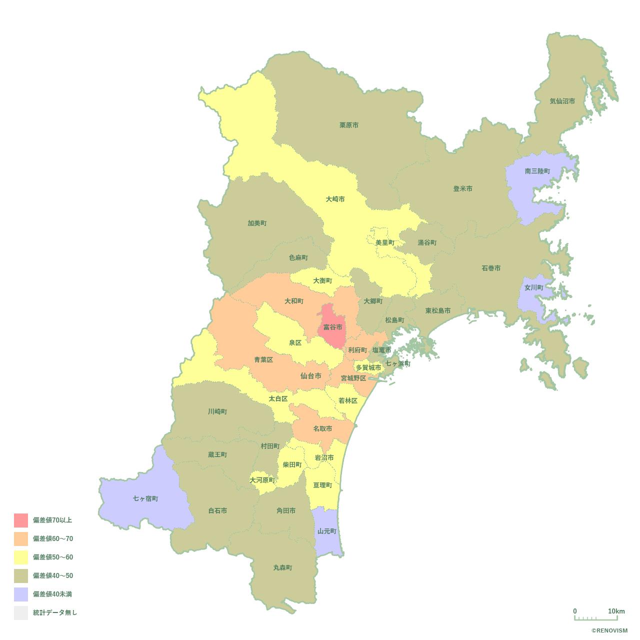 37地域別【人口増減率マップ】宮城県編 2020年