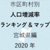 37地域別【人口増減率ランキング&マップ】宮城県編 2020年のアイキャッチ画像