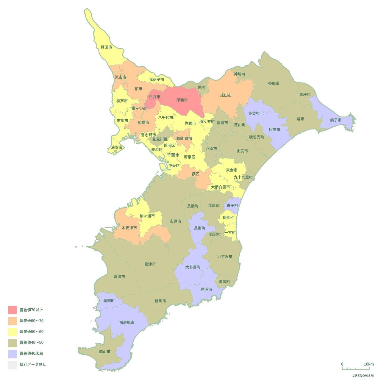 59地域別【世帯数増減率マップ】千葉県編 2020年