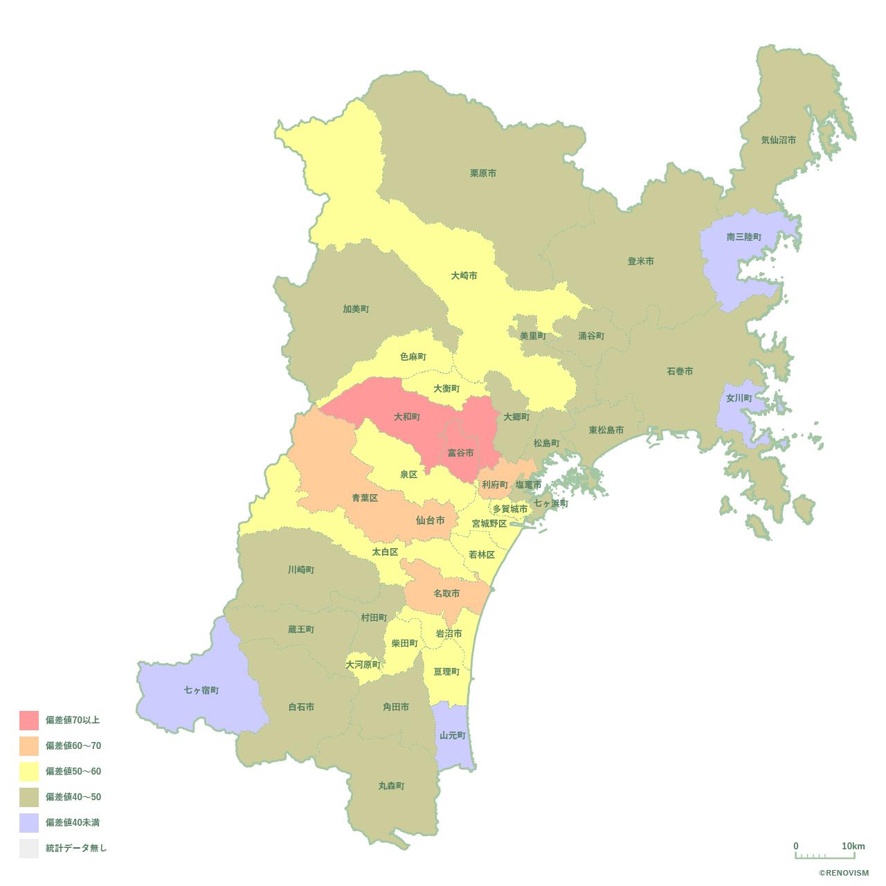 37地域別【世帯数増減率マップ】宮城県編 2020年