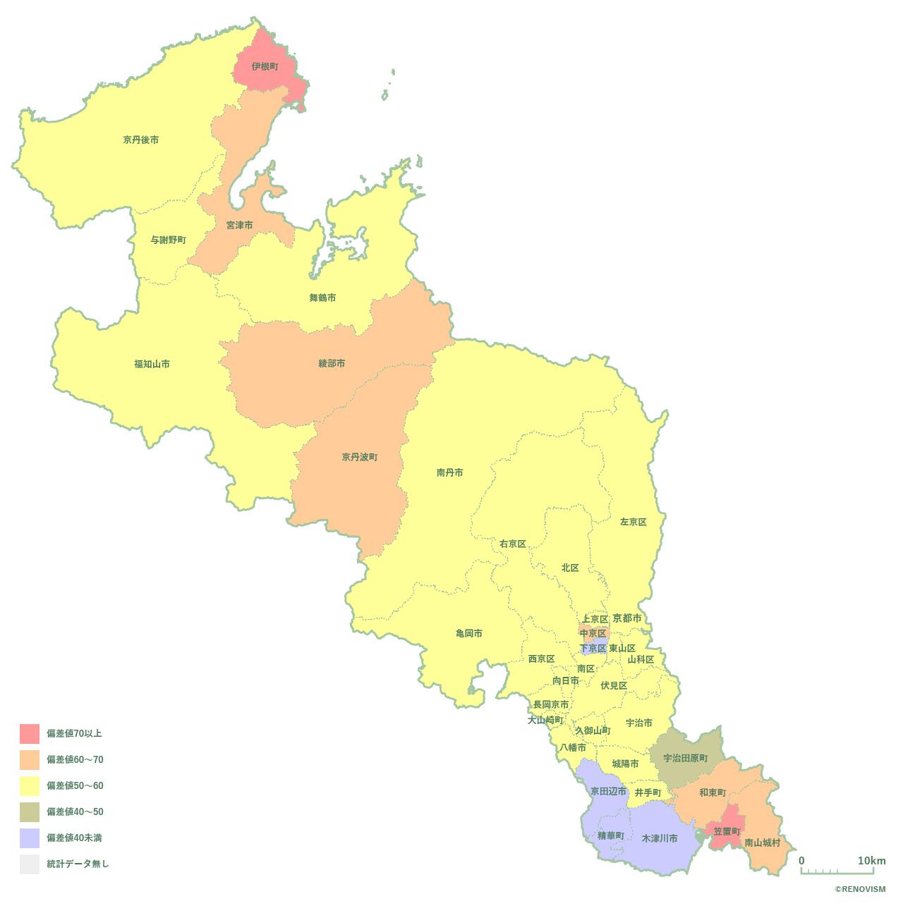 36地域別【高齢化率マップ】京都府編 2020年