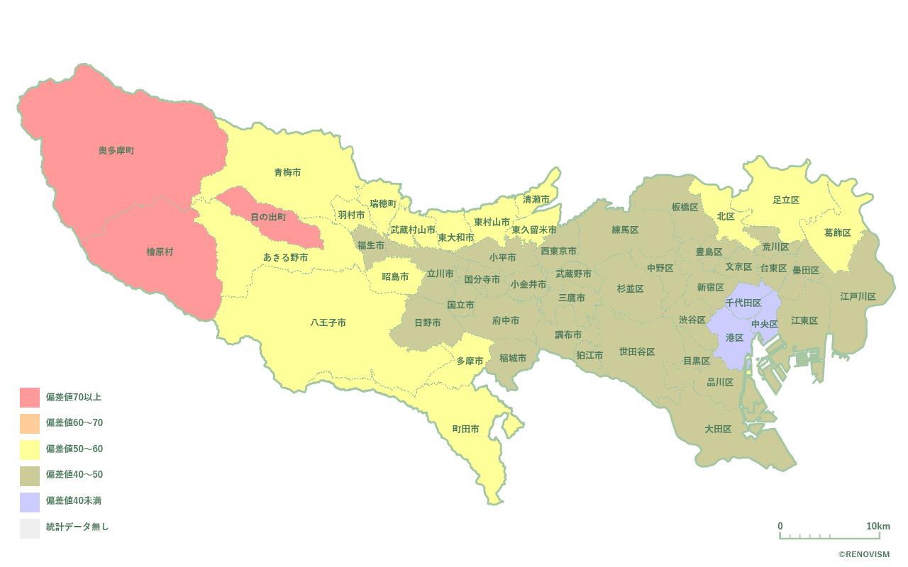 53地域別【高齢化率マップ】東京都編 2020年