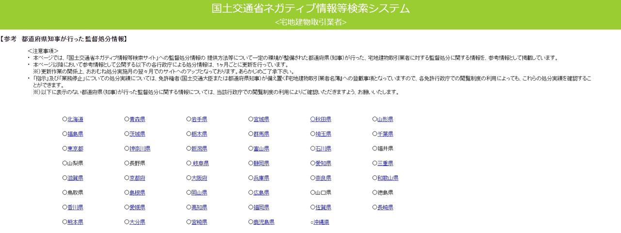 都道府県知事が行った監督処分情報