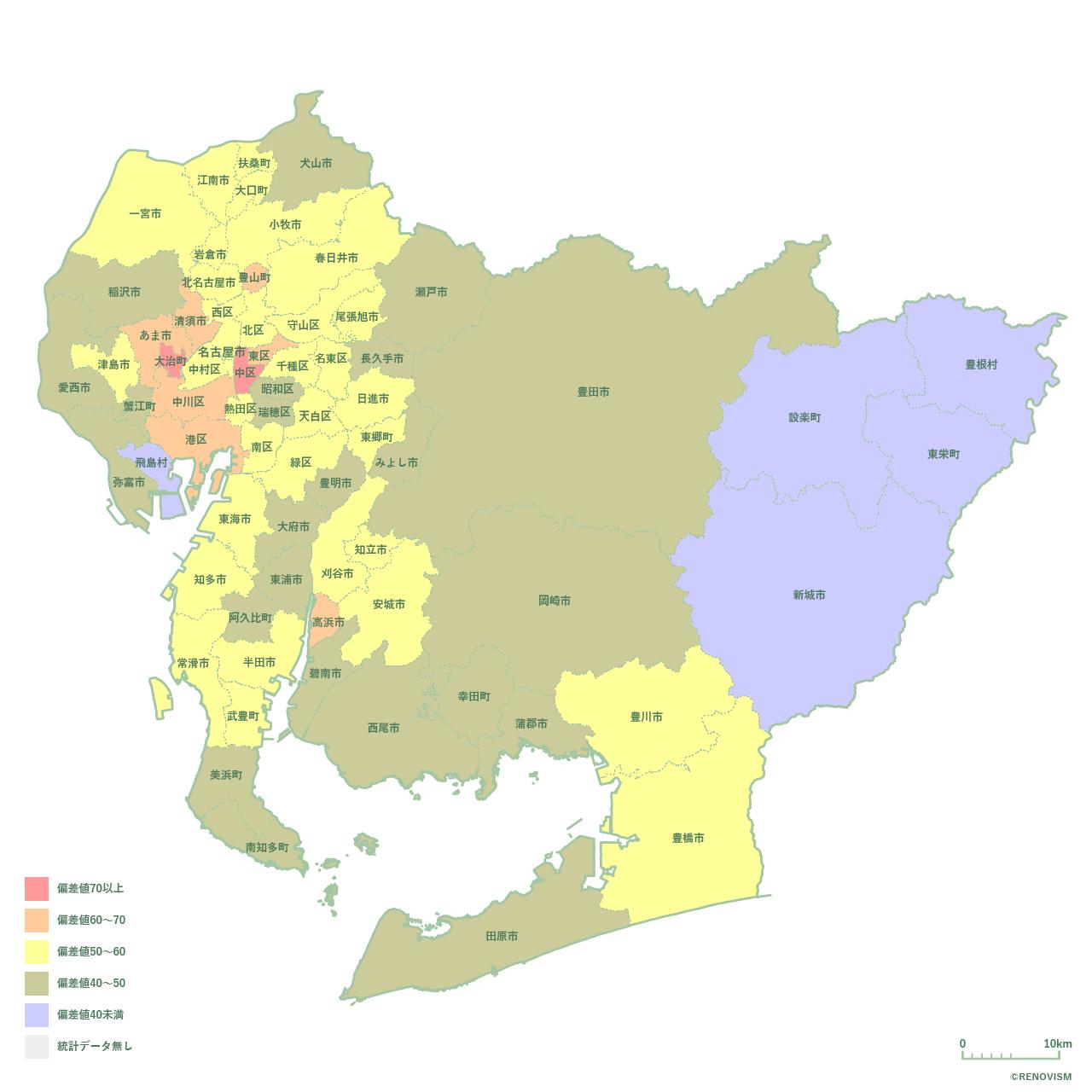 69地域県別【離婚率マップ】愛知県編 2020年