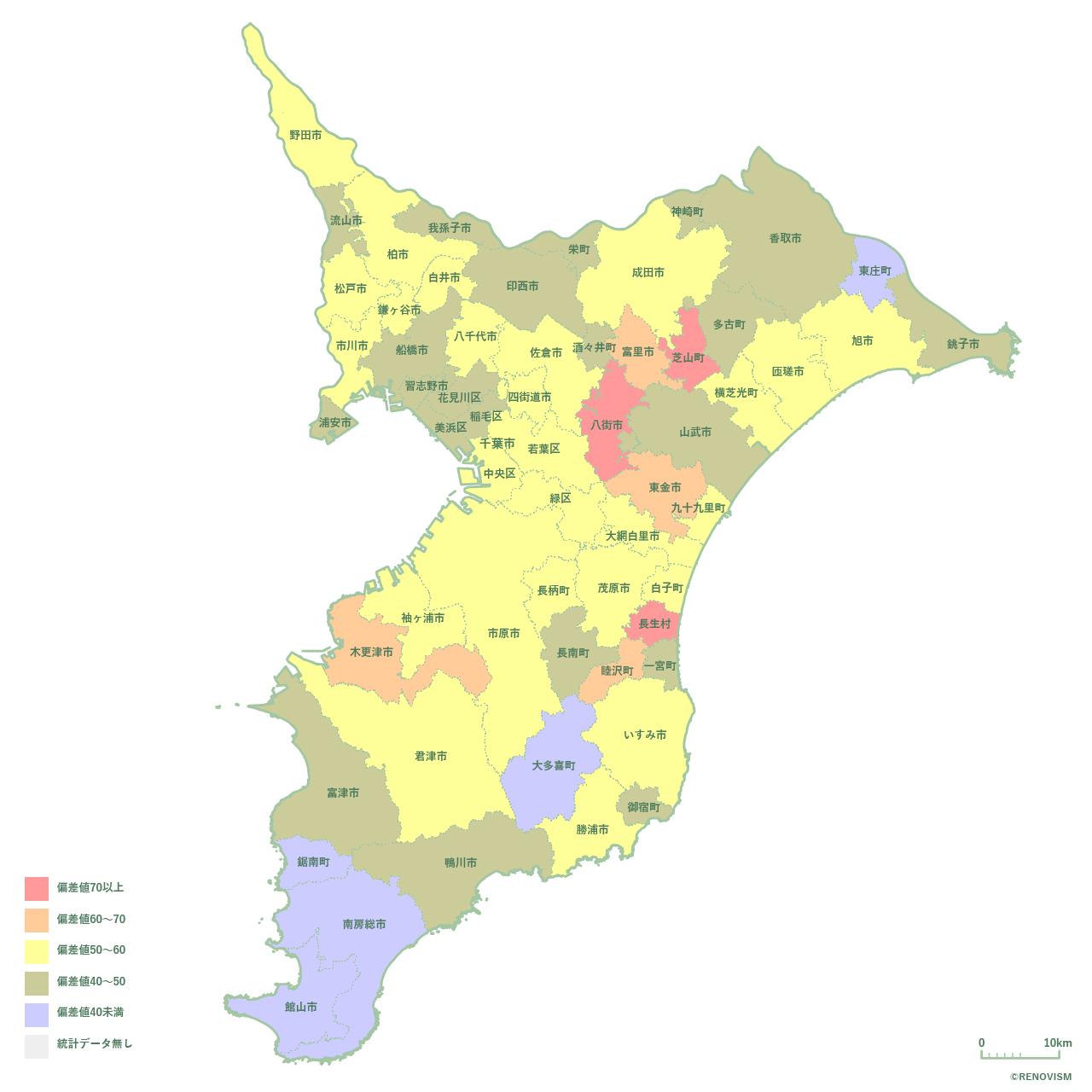 59地域県別【離婚率マップ】千葉県編 2020年